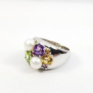 Multi-gemstone & Cultured Pearl Ring Sterling
